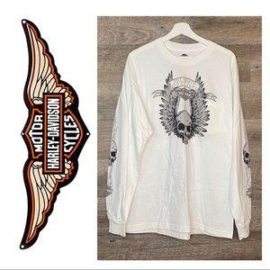 Harley Davidson Long Sleeve Pocket Tee Skull